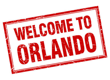 orlando: Orlando red square grunge welcome isolated stamp