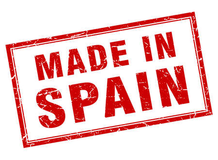 made in spain: Spain red square grunge made in stamp
