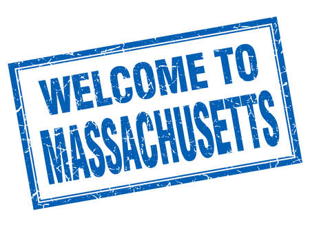 massachusetts: Massachusetts blue square grunge welcome isolated stamp