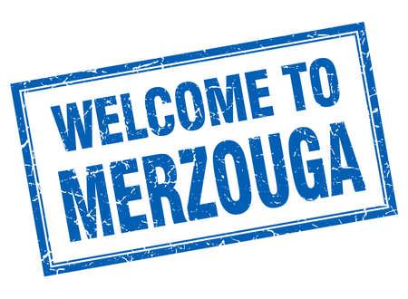 merzouga: Merzouga blue square grunge welcome isolated stamp