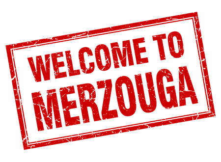 merzouga: Merzouga red square grunge welcome isolated stamp