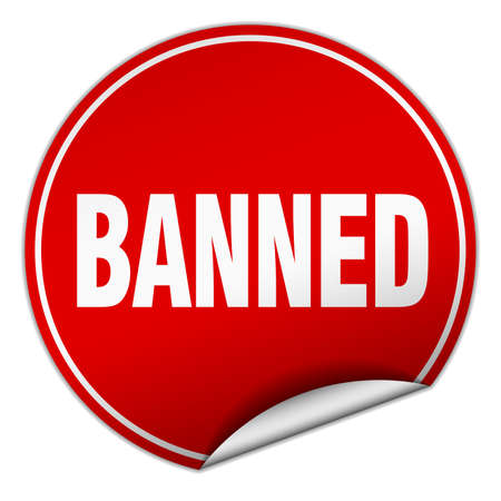 banned: banned round red sticker isolated on white Illustration