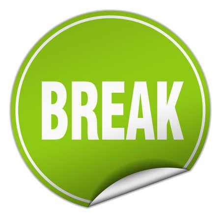 break: break round green sticker isolated on white Illustration
