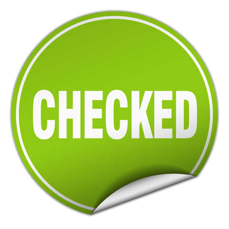 checked: checked round green sticker isolated on white