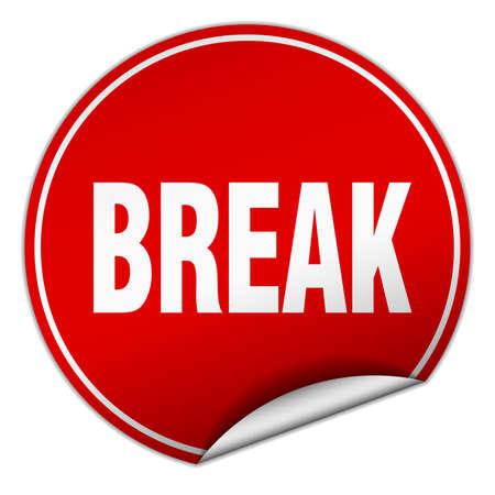 break: break round red sticker isolated on white