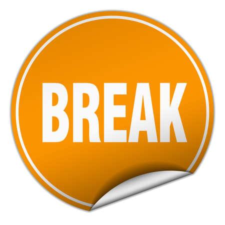 break: break round orange sticker isolated on white
