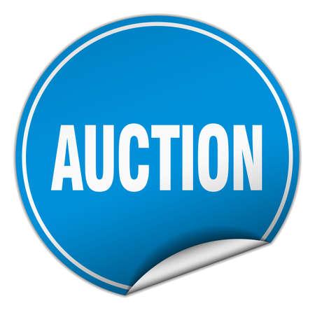 veiling: auction round blue sticker isolated on white Stock Illustratie