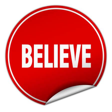 believe: creer etiqueta redonda de color rojo aislado en blanco