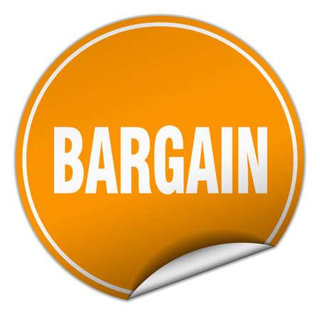 bargains: bargain round orange sticker isolated on white