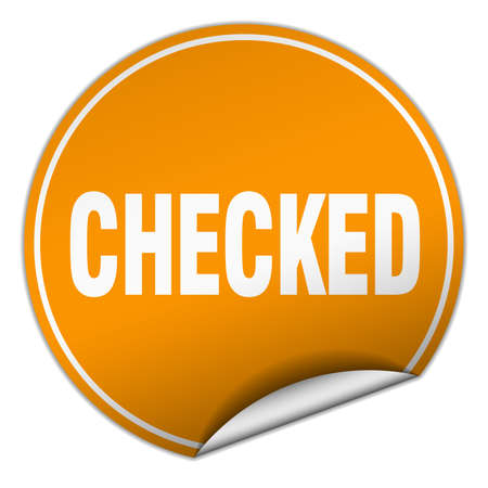 checked: checked round orange sticker isolated on white