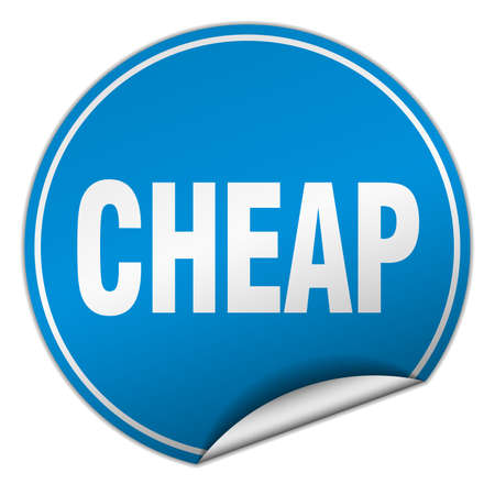cheap: cheap round blue sticker isolated on white