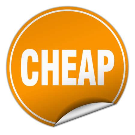 cheap: cheap round orange sticker isolated on white Illustration