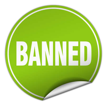 banned: banned round green sticker isolated on white