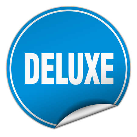 deluxe: deluxe round blue sticker isolated on white