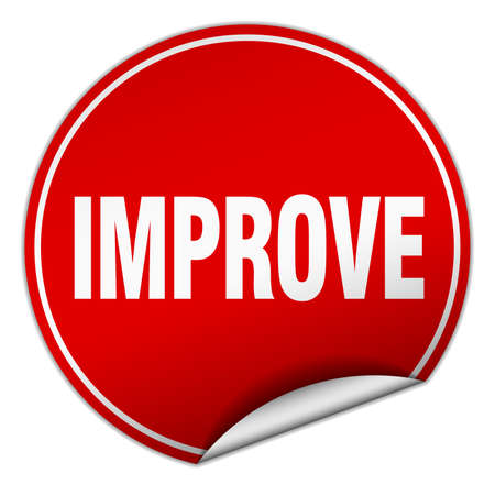 improve: improve round red sticker isolated on white
