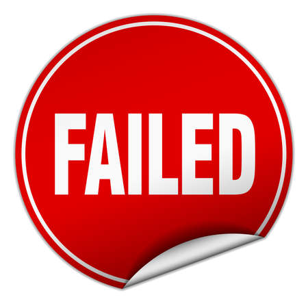 failed: failed round red sticker isolated on white