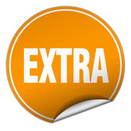 extra: extra round orange sticker isolated on white
