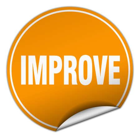 improving: improve round orange sticker isolated on white