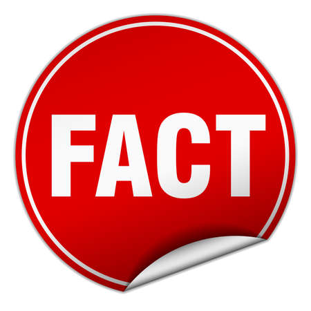 fact: fact round red sticker isolated on white