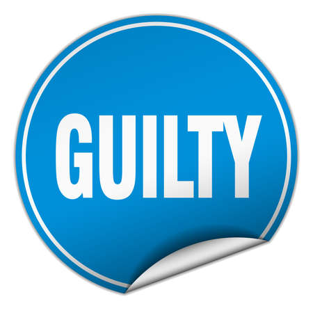 guilty: guilty round blue sticker isolated on white Illustration