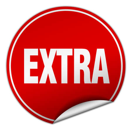 extra: extra round red sticker isolated on white