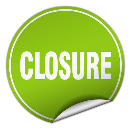 closure: closure round green sticker isolated on white Illustration