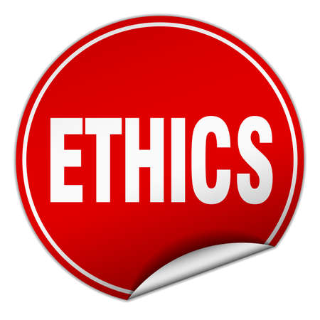 ethics: ethics round red sticker isolated on white