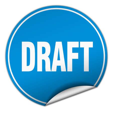 draft: draft round blue sticker isolated on white Illustration