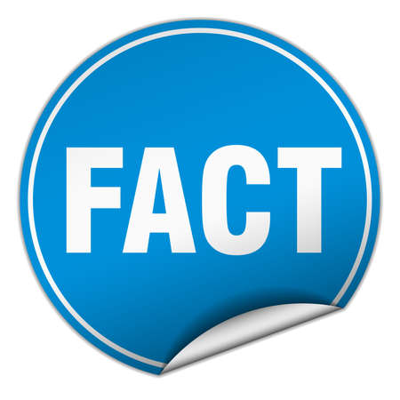fact: fact round blue sticker isolated on white