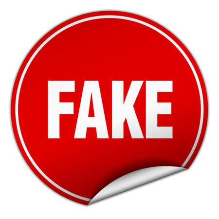 fake: fake round red sticker isolated on white Illustration