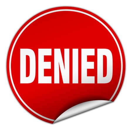 denied: denied round red sticker isolated on white Illustration