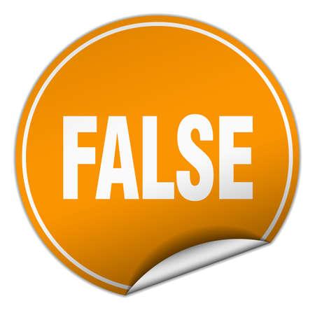 falso: falsa etiqueta redonda de color naranja aislado en blanco