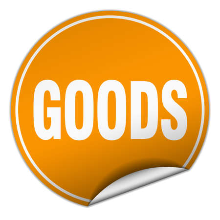 white goods: goods round orange sticker isolated on white