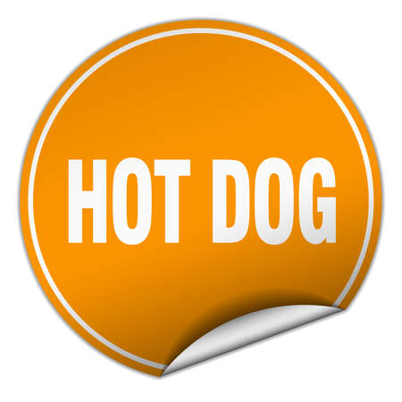 hot dog label: hot dog round orange sticker isolated on white
