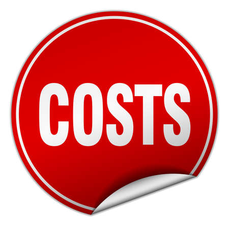 costs: costs round red sticker isolated on white