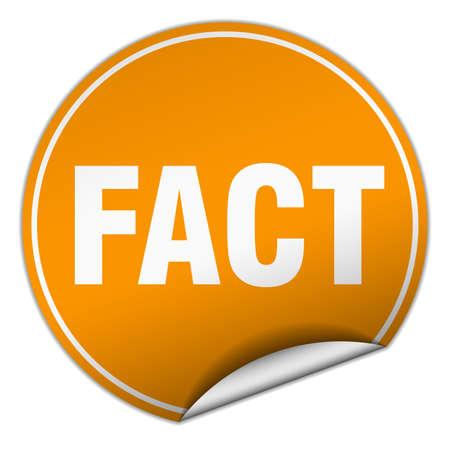 fact: fact round orange sticker isolated on white