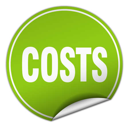 expense: costs round green sticker isolated on white