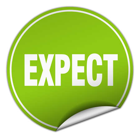 expect: expect round green sticker isolated on white