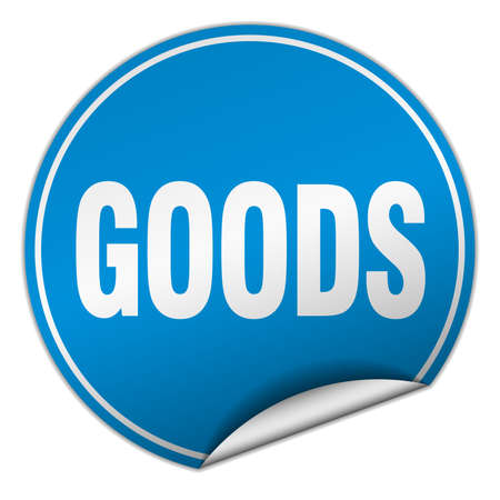 white goods: goods round blue sticker isolated on white