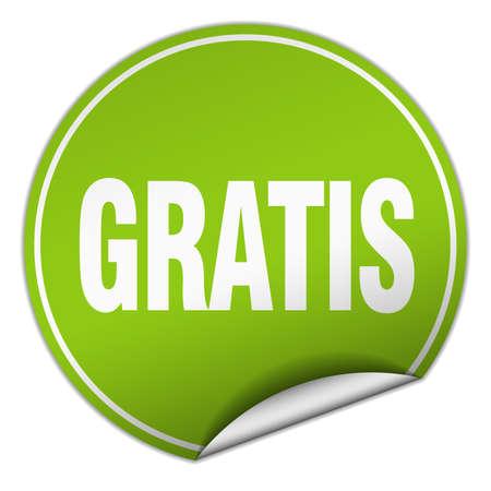 gratis: gratis round green sticker isolated on white Illustration