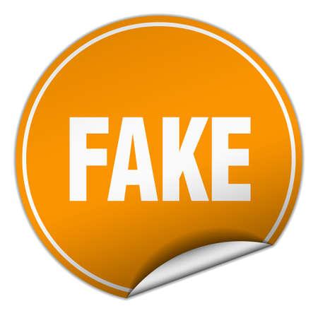 fake: fake round orange sticker isolated on white Illustration