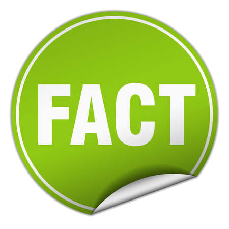 fact: fact round green sticker isolated on white