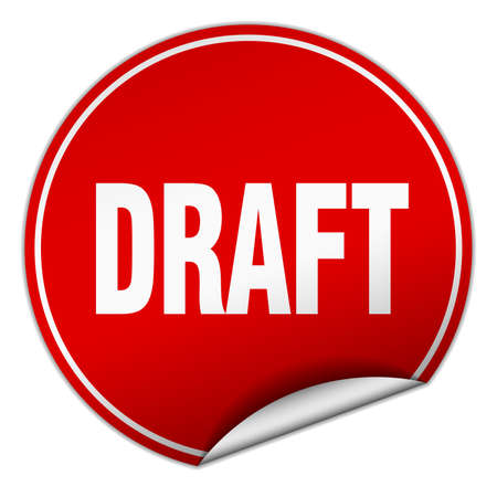 draft: draft round red sticker isolated on white