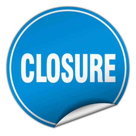 closure: closure round blue sticker isolated on white