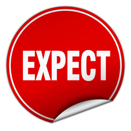 to expect: expect round red sticker isolated on white