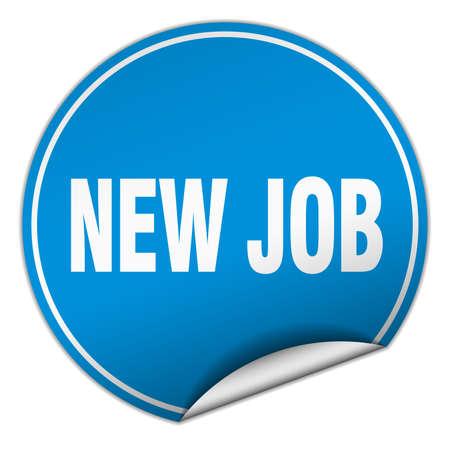 new job: new job round blue sticker isolated on white
