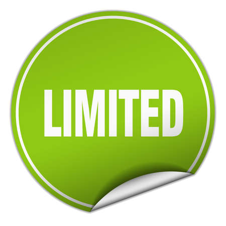 limited: limited round green sticker isolated on white