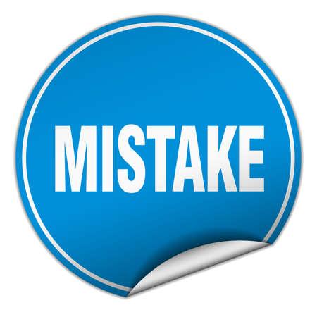 mistake: mistake round blue sticker isolated on white