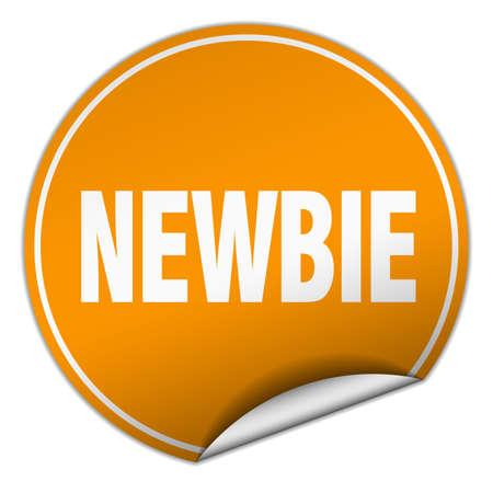 newbie: newbie round orange sticker isolated on white