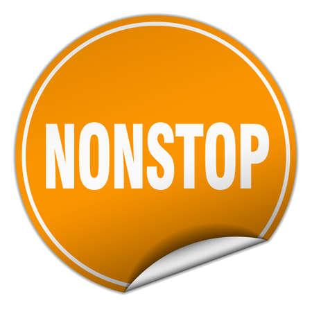nonstop: nonstop round orange sticker isolated on white Illustration